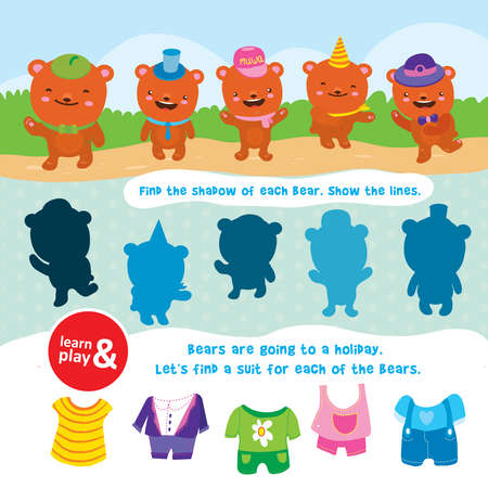 bear game. learn and play. Task to find objects for training of logical thinking. Find shadow and suit of each bear. Connect lines to match item. Vector isolated illustration. Hand draw.