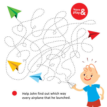 Entertaining challenge game for children. Help John find which way every paper airplane that he launched. Logic maze for kid and parent. Learn and play. Vector isolated. Hand draw illustration.