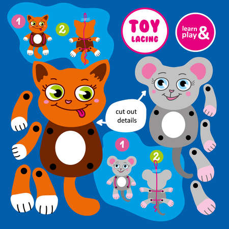 Toy lacing made by hand. Moving cat and mouse. Collect toy by cutting out details of paper and following instructions from tips. Learn and play series. Vector isolated. Hand draw illustration