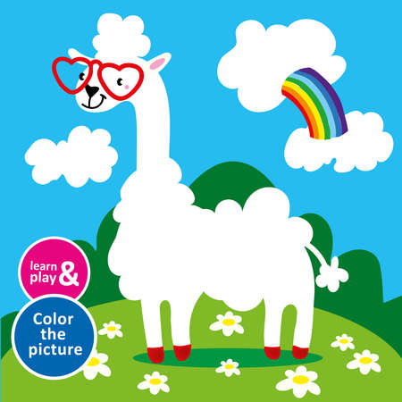 Lama in sunglasses hearts grazing in meadow. Paint the animal using colored pencils. Training of color perception, fine motor skills of children s hands. Vector isolated illustration. Hand draw