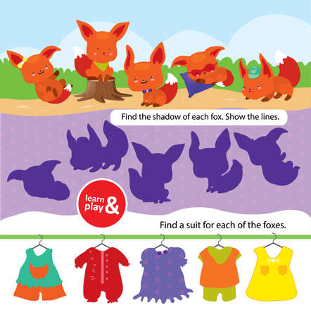 Task for development care and logic for children. Learn and play at same. Find right shade for each fox connect it with pencil. Pick right suit for each fox looking for accessories. Vector isolated.