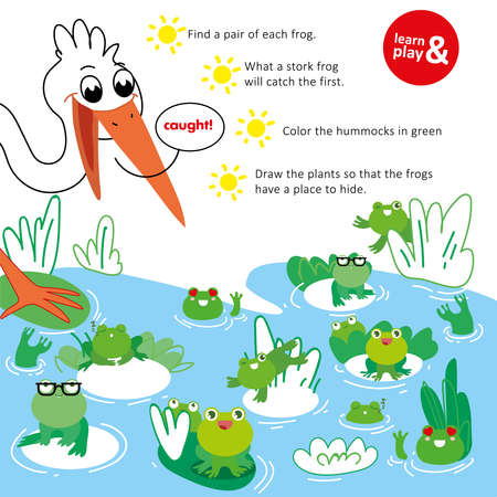Training care for children with help of educational exercise. Find same frogs. What kind of frog stork will catch first. Use green pen and color hummocks and plants which hide frog. Vector isolated
