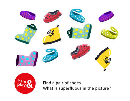 Development game of attention and concentration for children. Find same pair of shoes, identify superfluous shoes. Use exercise to teach children in kindergarten school or at home. illustration Stock Photo