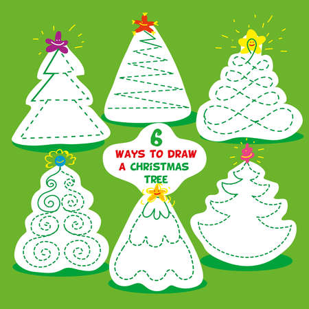 children games. six different ways to draw Christmas tree. Use pencil and draw each Christmas tree in specified way. Exercises for developing drawing skills for children. Vector isolated illustration.
