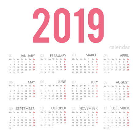 Simple concept of calendar for 2019 new year. Months are taken in a square frame. For desktop wall pocket calendar organizer glider business book diary wallpaper. Vector isolated.