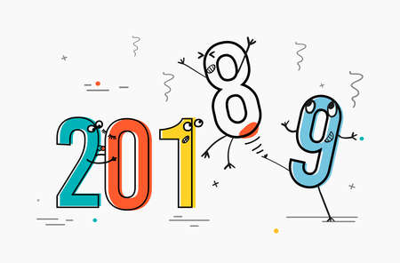 Cartoon concept of 2019. Numbers are in different emotional states. Two and zero kiss one in shock and nine expels eight on vacation. Use for greeting card calendar banner poster. Vector illustration. Illustration