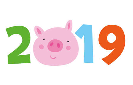 Chinese calendar symbol of 2019 year yellow pig. Emblem of coming new year. cartoon smyle pink pig. Vector isolated illustration for chinese new year Use for calendar stretch marks poster banner.