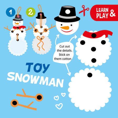 educational game for children. Happy toy snowman. Do it yourself. Snowman can move his arms. Use scissors glue and thread to animate snowman. Christmas tree toy. Learn and play. Vector illustration.