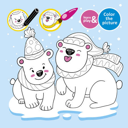 educational game for children. Paint polar teddy bears, scarves, hats on ice. Winter. Color the picture. Development of drawing, color perception skills for kid. Learn and play. Vector illustration.