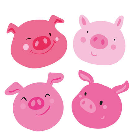 Cute collection of four faces pink pig. Different emotions on each muzzle, used as sticker and emoji. Use as an icon symbol badge mascot. hand drawn vector isolated illustration for chinese new year.
