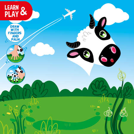 Development educational game for kids. Use your fingers and palm to finish painting cow. Look at clues and draw missing element. Vector hand draw illustration task. Learn and play.  イラスト・ベクター素材
