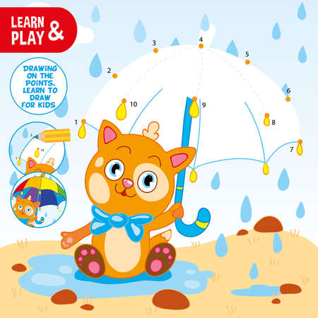 Connect points with numbers by pencil and draw umbrella for kitten. Use colored pencils, paint umbrella using tips. Ginger kitten. Coloring. Learn and play. Educational vector illustration for kid