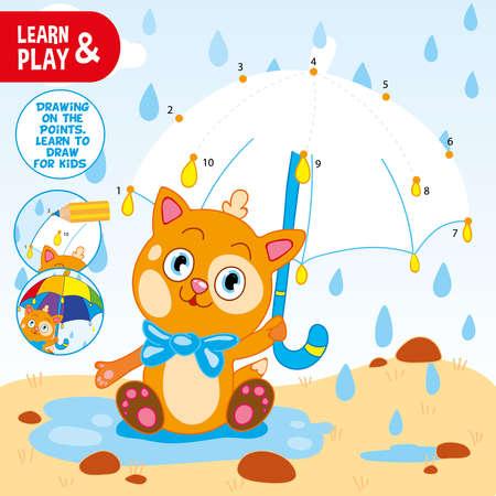Verbinden Sie Punkte mit Zahlen mit Bleistift und zeichnen Sie einen Regenschirm für ein Kätzchen. Verwenden Sie Buntstifte, malen Sie Regenschirme mit Spitzen. Ingwer Kätzchen. Färbung. Lernen und spielen. Pädagogische Vektorillustration für Kinder