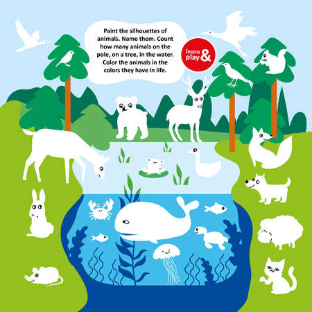 Educational game for kid. Paint silhouettes of animals. Count number of bird animal fish on field in lake and on trees. Vector hand draw illustration task For children s magazine. Learn and play.