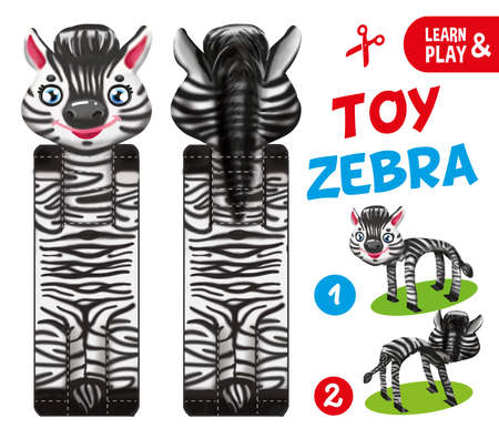 Zebra paper toy. Educational game for kids. Cut and glue the toy. Illustration for children magazine. hand draw illustration task. Learn and play. African animal wildlife.