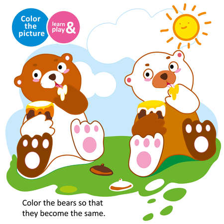 game for small children. Bear eats honey on a glade in summer. Color the picture. Coloring. For childrens magazines. Memory train for kids. Learn and play. Educational vector illustration for babies