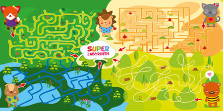 4 mazes. Help deer fox bear and cat to go through maze and meet in center with hedgehog. Super maze for kids. childrens intellectual labyrinth game. Learn and play. Vector hand draw illustration Stockfoto - 112521613