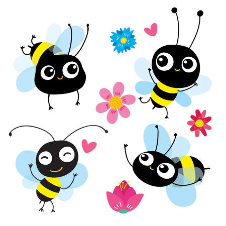 set of four cartoon bees in motion. Each bee reflects different emotion, action. Use as symbol icon element emblem for childrens books pictures and cards. Vector illustration. Hand-drawn concept.