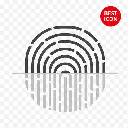 Fingerabdruck-Vektor-Symbol. Einfaches flaches Schutzsymbol für Anwendungs-Touch-ID-Weblogo-Website Business-Smartphone IT-Personaldaten-Unternehmenskarten-ID. Abbildung im flachen Stil. Vektor isoliert.