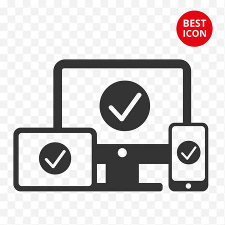 Set of gadgets flat style. Computer icon. Telephone icon. Smartphone, tablet. Minimal design. Isolated technology. For web application web site logo shop IT companies developer. Vector isolated