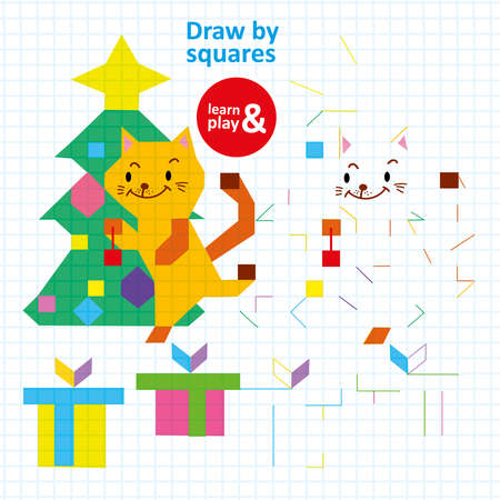Draw Squares Child Coloring Printable Vector Game