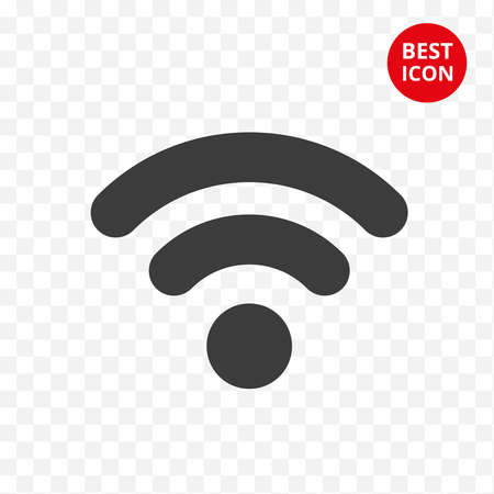Black wifi icon. Vector symbol connection. Internet isolated sign. Modern signal wifi in flat style. Simple design concept. For web site mobile apps mobile and computer designation of wifi zone. Çizim