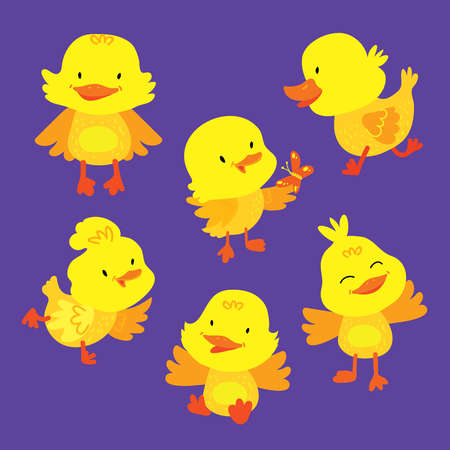 Cute Baby Duckling Animal Mascot Drawing Set. Various Duck Children Pose Isolated for Easter Symbol. Poultry Adorable Pattern. Lovely Bird Collection Flat Cartoon Vector Illustration