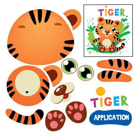 Coupez le jeu d'application de papier d'enfants de tigre de colle. Kid Model Craft Apprentissage de la motilité des doigts. Découpe avec la modélisation d'impression de silhouette animale de ciseaux. Éducatif, jouer, plat, dessin animé, vecteur, illustration