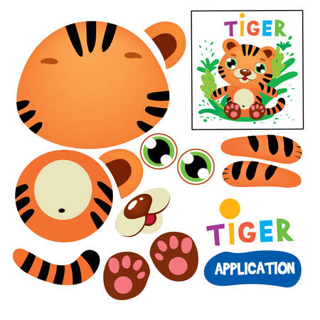 Cut Glue Tiger Children Paper Application Game. Kid Model Craft Learning Finger Motility. Cutout with Scissors Animal Silhouette Print Modeling. Educational Playing Flat Cartoon Vector Illustration