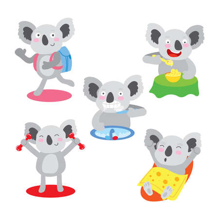 Cute Koala Morning Healthy Regular Exercise Set. Early Procedure after Awaken for Children Happy Lifestyle. Character Eat Breakfast, Wash Mouth and Get Dressed Flat Cartoon Vector Illustration