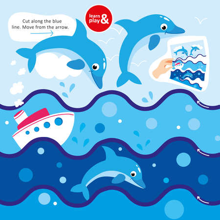 Game Cut Scissors Along Blue Line Dolphin in Sea. Cutout Picture and Move from Arrow. Learn and Play Preschool Children Lesson. Kid Educational Funny Playing. Flat Cartoon Vector Illustration Vectores