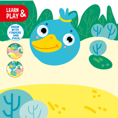 Finger Drawing Game Duck Sample Worksheet. Learn and Play Preschool Children Lesson. Kid Watercolor Bird Tutorial for Palm Painting. Hand Motility. Flat Cartoon Vector Illustration Vectores