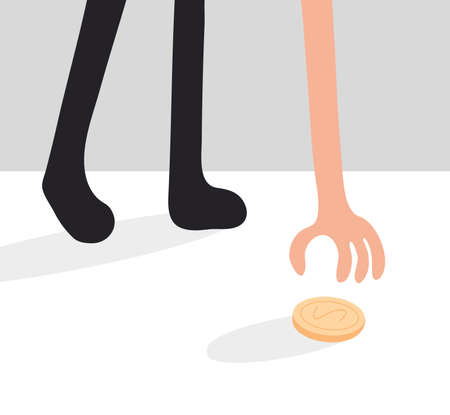 Man Find Coin on Floor, Lottery Luck Metaphor. Businessman Hand Pick Money from Ground. Business Character Found Easy Treasure Profit. Fortune Conceptual Flat Cartoon Vector Illustration 矢量图像
