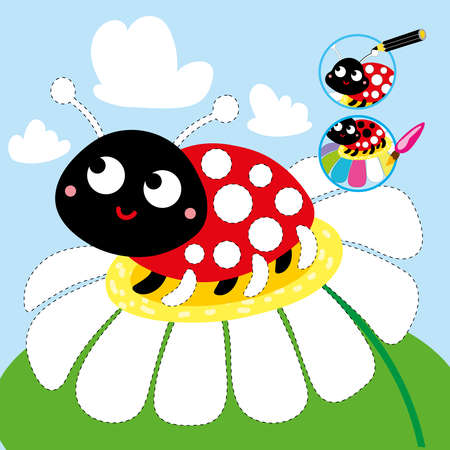 Drawing Cartoon Game Tutorial Ladybug Printable Worksheet Ilustração