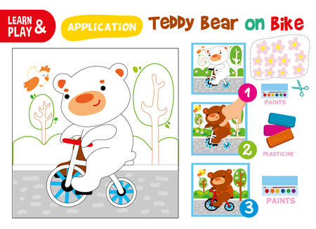 Cute Bear on Bicycle Step Instruction for Kid Ilustrace