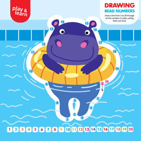Drawing Game Tutorial Hippo Printable Worksheet Vector Ilustracja