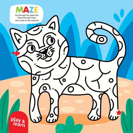 Logic Kid Labyrinth Cat Game Printable Template