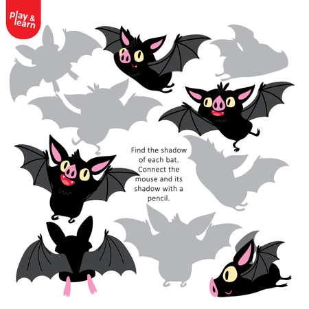 Zoek schaduw van elk vleermuisspel afdrukbare sjabloon Vector Illustratie