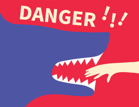 Human Hand in Shark Jaws and Word Danger Banner