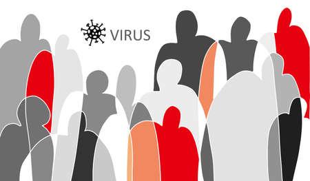 Coronavirus Bacteria Cell and people bacground, 2019-nCoV Novel Coronavirus Bacteria. No Infection and Stop Coronavirus. Concepts infection of people. World virus. Isolated Vector illustration