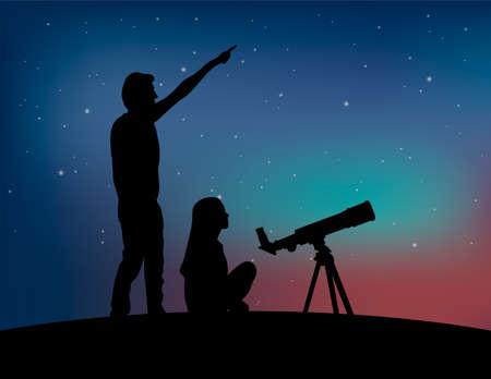 Silhouette d'un couple de personnes avec télescope sur le fond de ciel étoilé. L'homme pointe vers le ciel