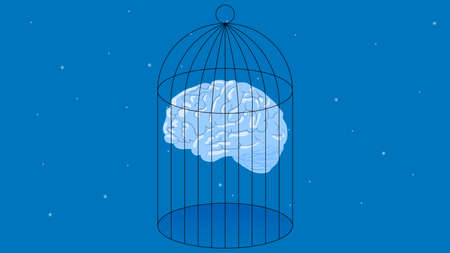 Brain in cage vector illustration Addiction illustration