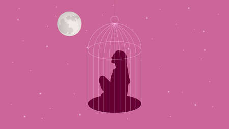 Girls silhouette in cage vector illustration Standard-Bild - 124059450