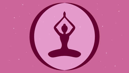 Yoga pose on the pink starry sky background vector illustration