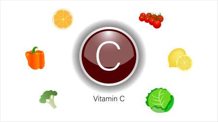 Vitamin C sources vector illustration