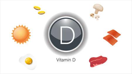 Vitamin D sources vector illustration