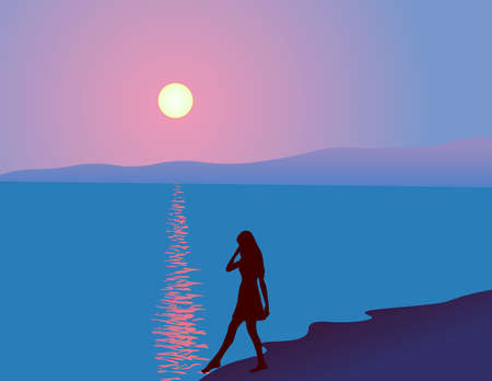 Girl's silhouette on the sea sunset background