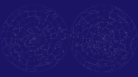 Full sky map vector design. Northern and southern hemispheres constellations Standard-Bild - 124844303