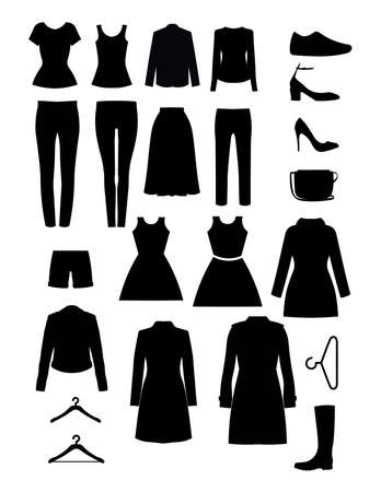 Diseño vectorial de ropa. Silueta de artículos de vestuario. Conjunto de iconos