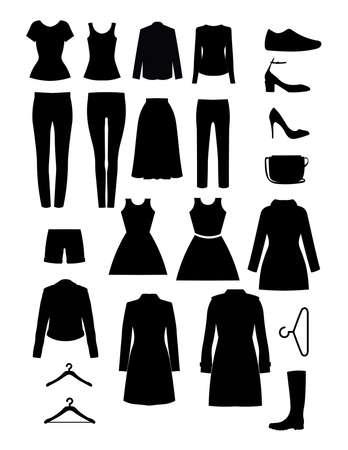 Disegno vettoriale di vestiti. Siluetta degli elementi del guardaroba. Set di icone